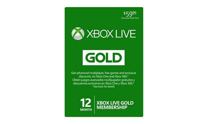 12-Month Xbox Live Gold Membership  $25 + Free Shipping