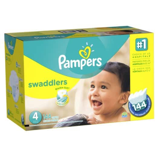 Pampers Swaddlers Diapers Economy Pack Plus, Size 4, (144 Count) (Packaging May Vary) For $31 or less @ Amazon.