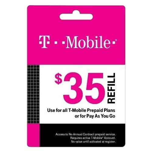 Extra 10% Off Prepaid Phone Cards (T-Mobile, AT&T, Verizon, Boost Mobile, Virgin Mobile, NET10 & More): $35 T-Mobile Prepaid Card $31.50 & More