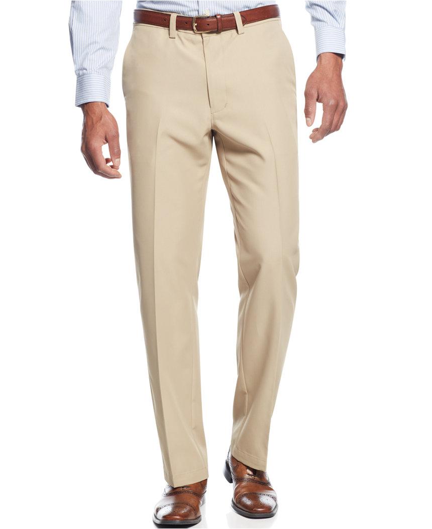 2-Pairs of Haggar Men's Microfiber Straight Fit Dress Pants  $32