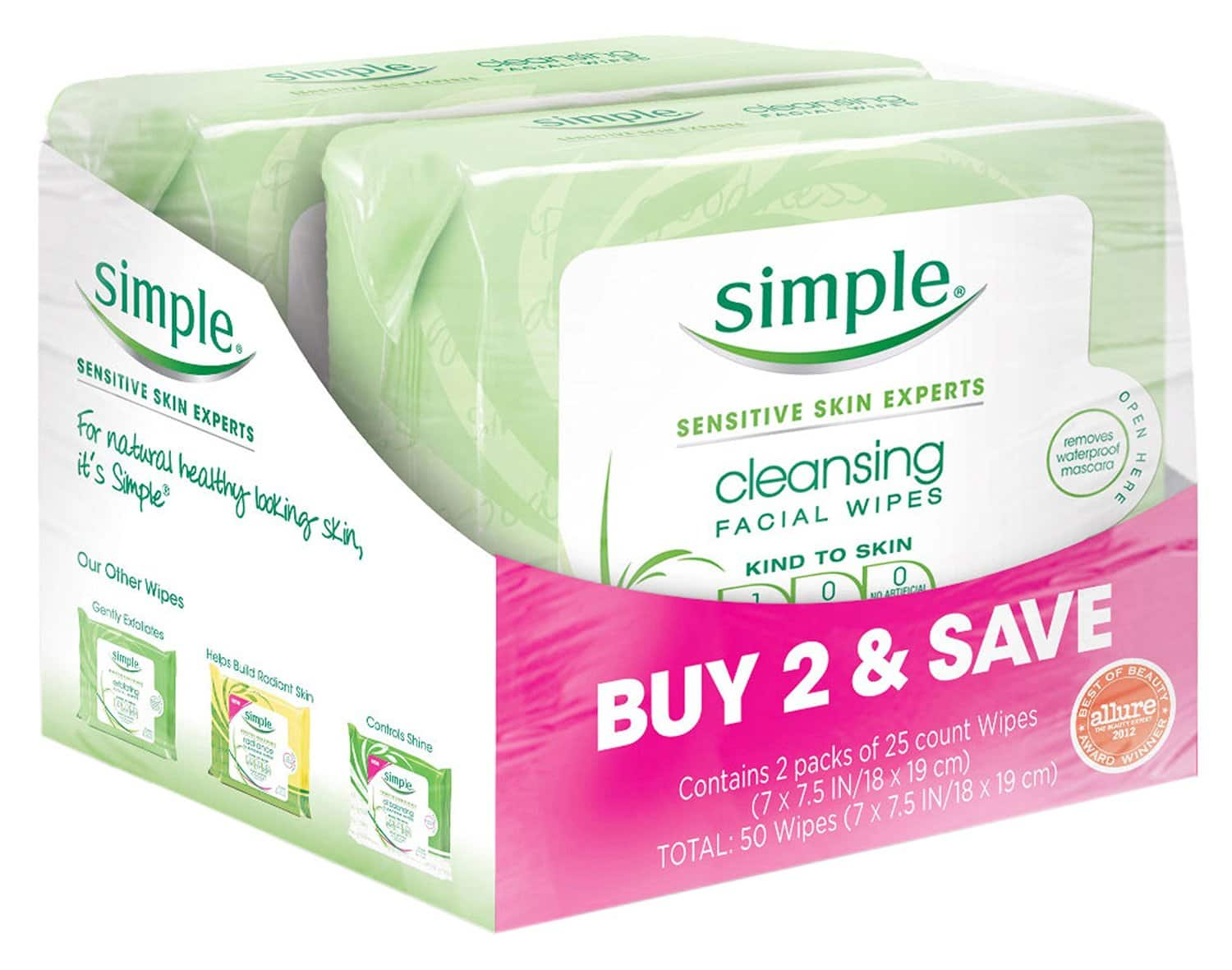50-ct. Simple Cleansing Facial Wipes (Kind to Skin)  $5.85 + Free Shipping