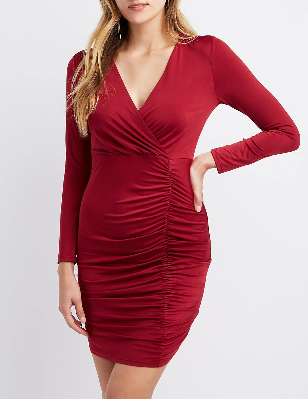 a327990b4cf21 Charlotte Russe Clearance Sale: Surplice Ruched Bodycon Dress ...