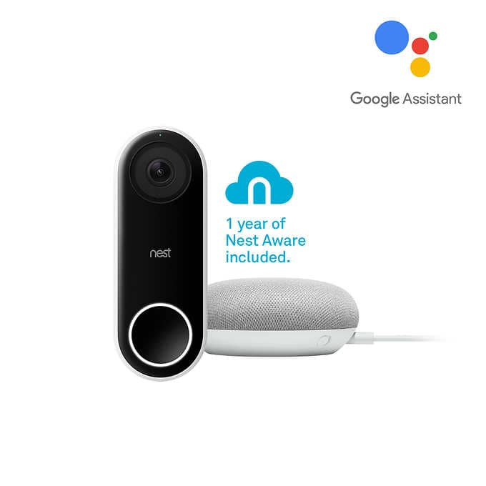 Nest Hello Video Doorbell w/ 1-yr  Nest Aware + Google Home Mini