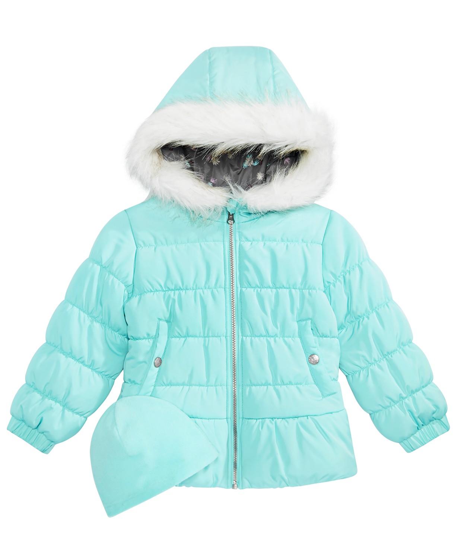 38b4efa8b037 Weathertamer Little Girls Quilted Puffer Jacket   Matching Hat (Aqua ...