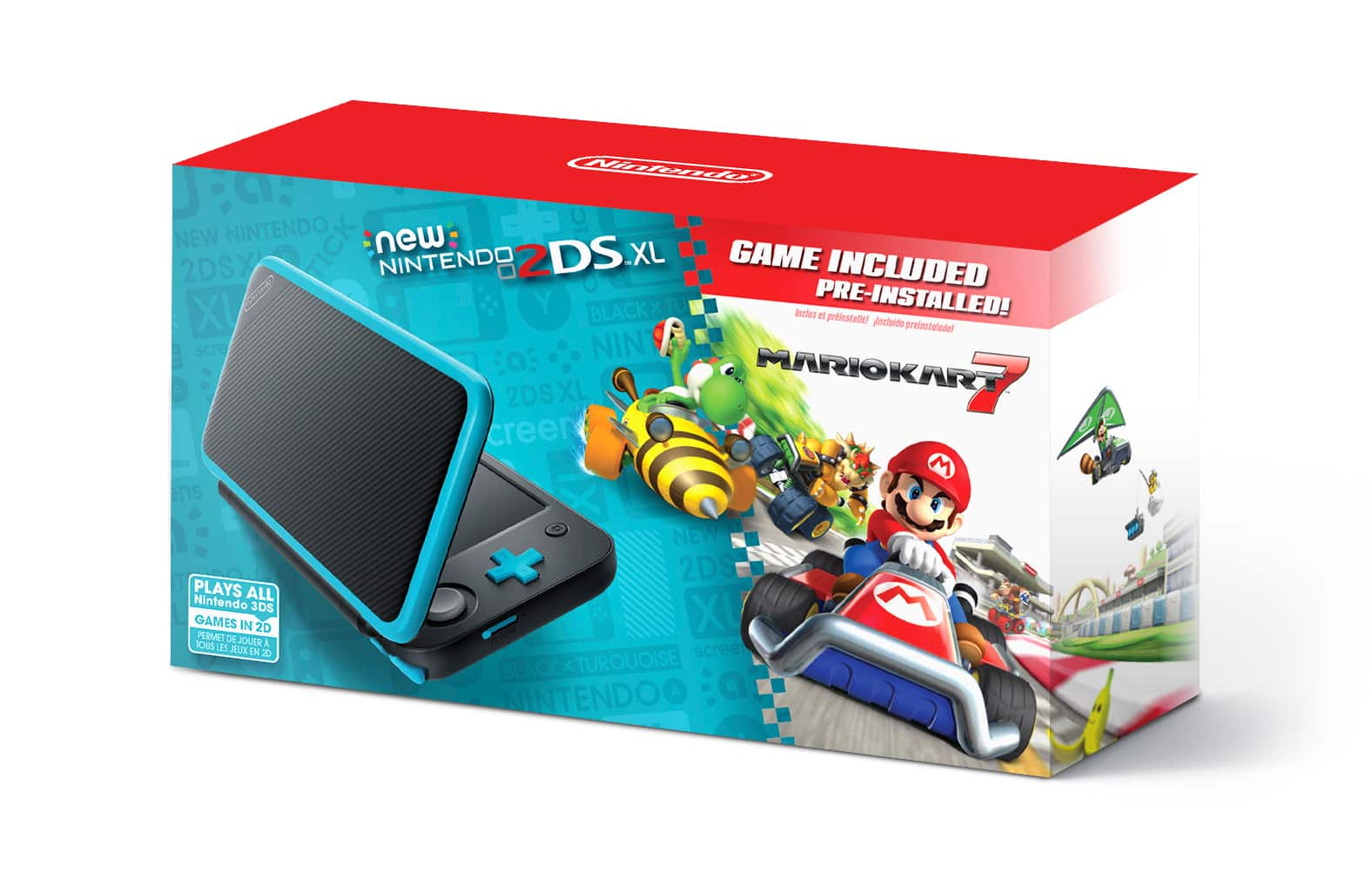 Nintendo 2DS XL System w/ Mario Kart 7 Pre-installed, Black & Turquoise $99.99