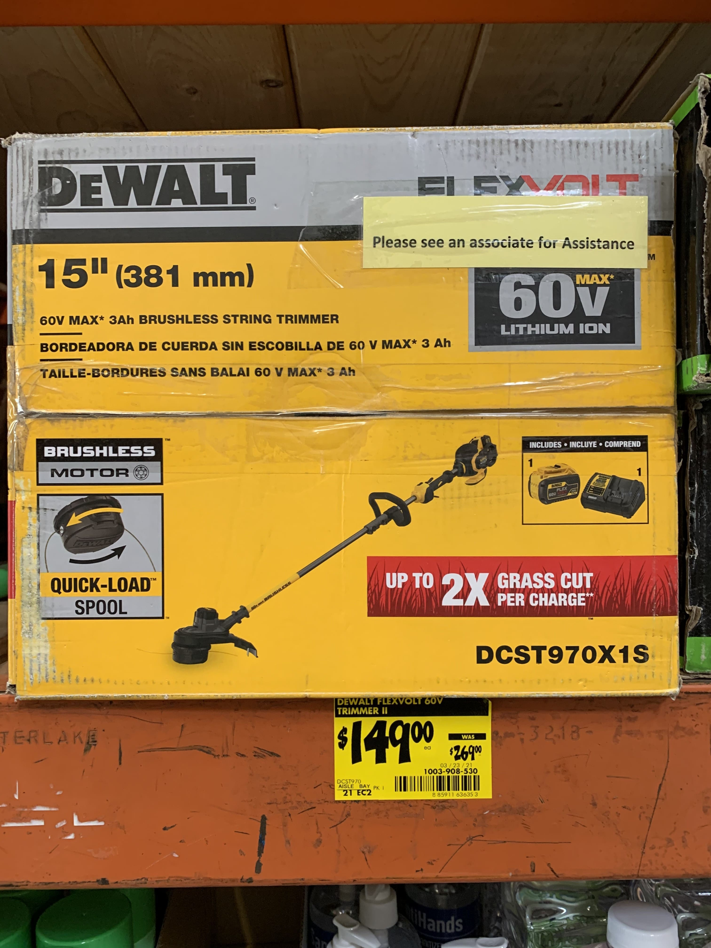 DEWALT 15 in. 60V MAX Lithium-Ion Cordless FLEXVOLT Brushless String Grass Trimmer with (1) 3.0Ah Battery and Charger Included-DCST970X1S - $150