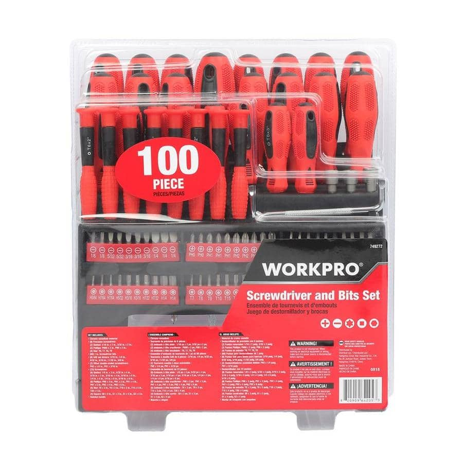 WORKPRO 100-piece screwdriver 100-Piece Rubber Handle Ratcheting Multi-Bit Screwdriver Set $12.48