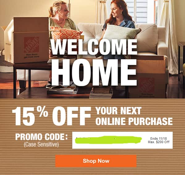 Home Depot Email 15% off online purchase coupon max $200