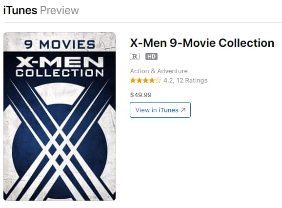 X-Men 9-Movie Collection (Digital 4K HDR Download) $49.99