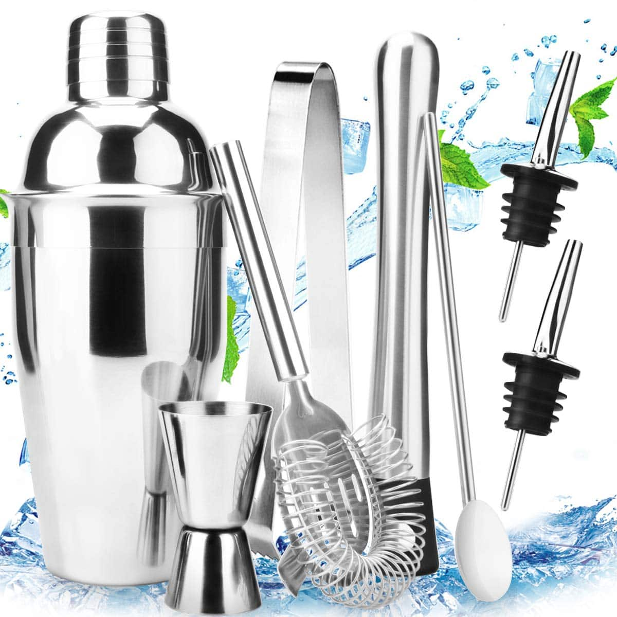 18oz Stainless Steel Cocktail Shaker Bar Set Tools $9.89