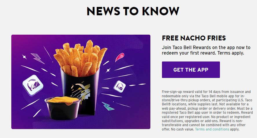 Taco Bell App Rewards Free Nacho Fries (New Members)