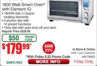 Breville 1800 Watt Smart Convection Oven Plus $179 99 Free