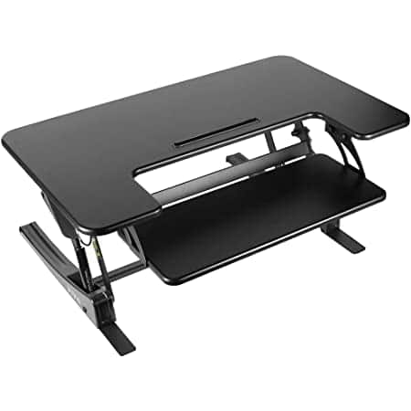 """32"""" TechOrbits Sit-to-Stand Desk Riser Converter w/ Gas Springs (Used, Like New) $35.70 + Free Shipping"""