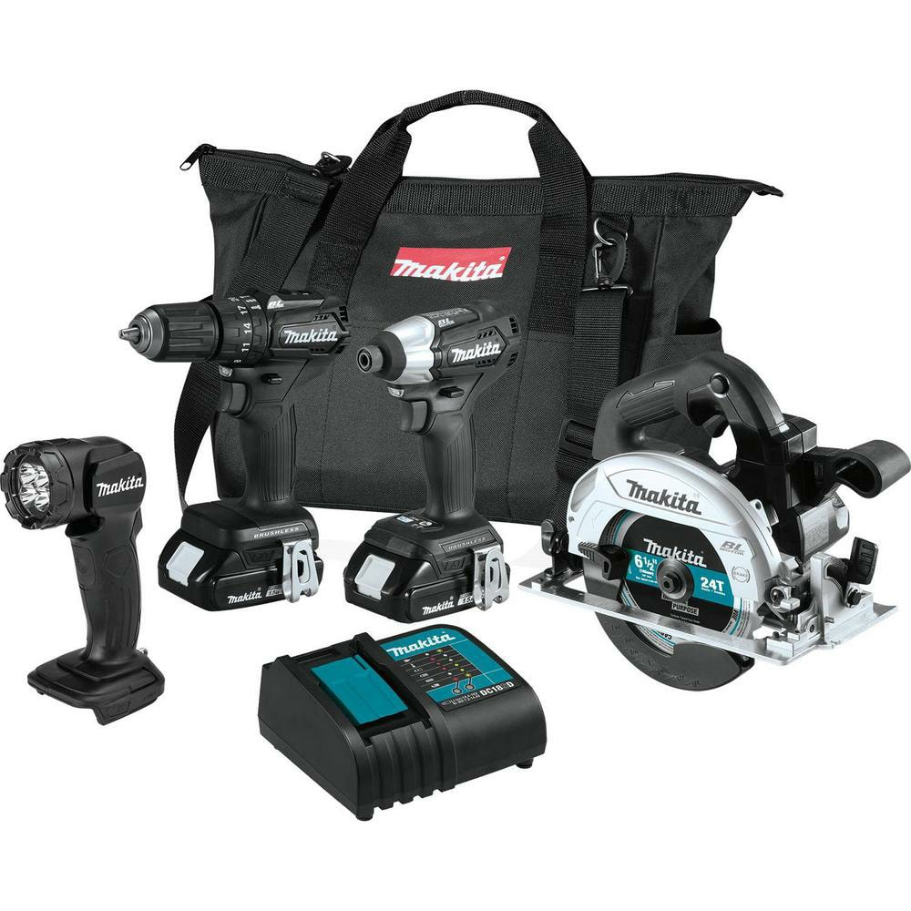 YMMV in store Makita 18V LXT Sub-Compact Brushless Combo (1.5Ah) (4-Piece)-CX401SYB $199
