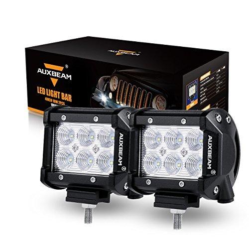 "Auxbeam LED Light Bar 4"" 18W LED Pods 1800lm Flood Beam Driving light Off Road Lights for SUV ATV UTV Trucks Pickup Jeep (Pack of 2) -- $17.84  + Free Prime Shipping"