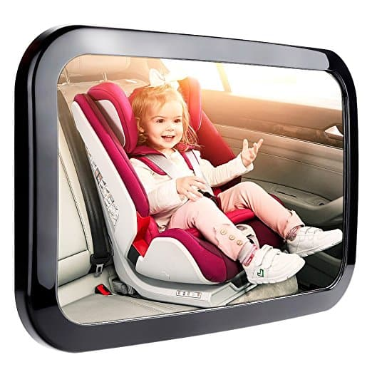 Anpress Baby Car Mirror for Rear Facing Infant, Crystal Clear View Backseat Mirror Newborn Toddler Safe Double Strap Baby Mirror (Black) -- $13.64 AC + FREE Prime Shipping