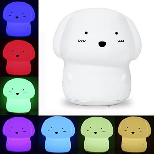 KssFire Rechargeable Silicone Dog Night Light Soft Cute Dog Night Lamp Multicolor Voice Message Recording Tap Control for Kids Children Adults Gift and Bedroom -- $7.02 AC