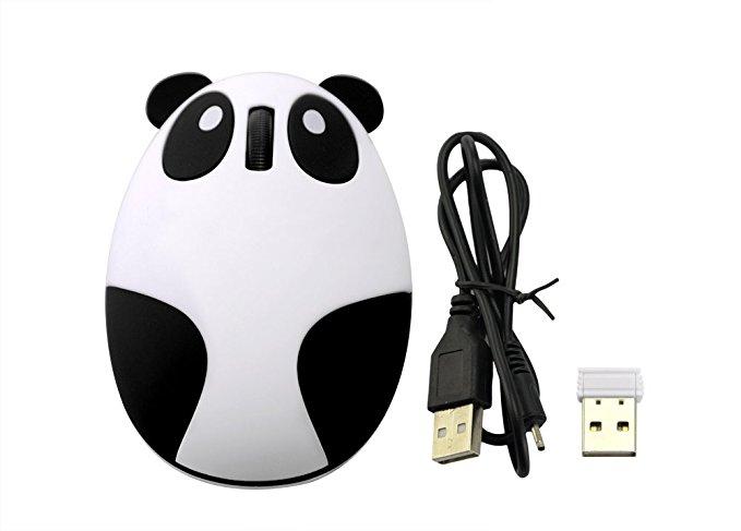 LingsFire Super Cute Wireless Optical Cartoon Panda Mouse Rechargeable Mini 2.4GHz Wireless Panda Desktop Laptop Unique Novel Portable(Black & White) -- $4.99 AC