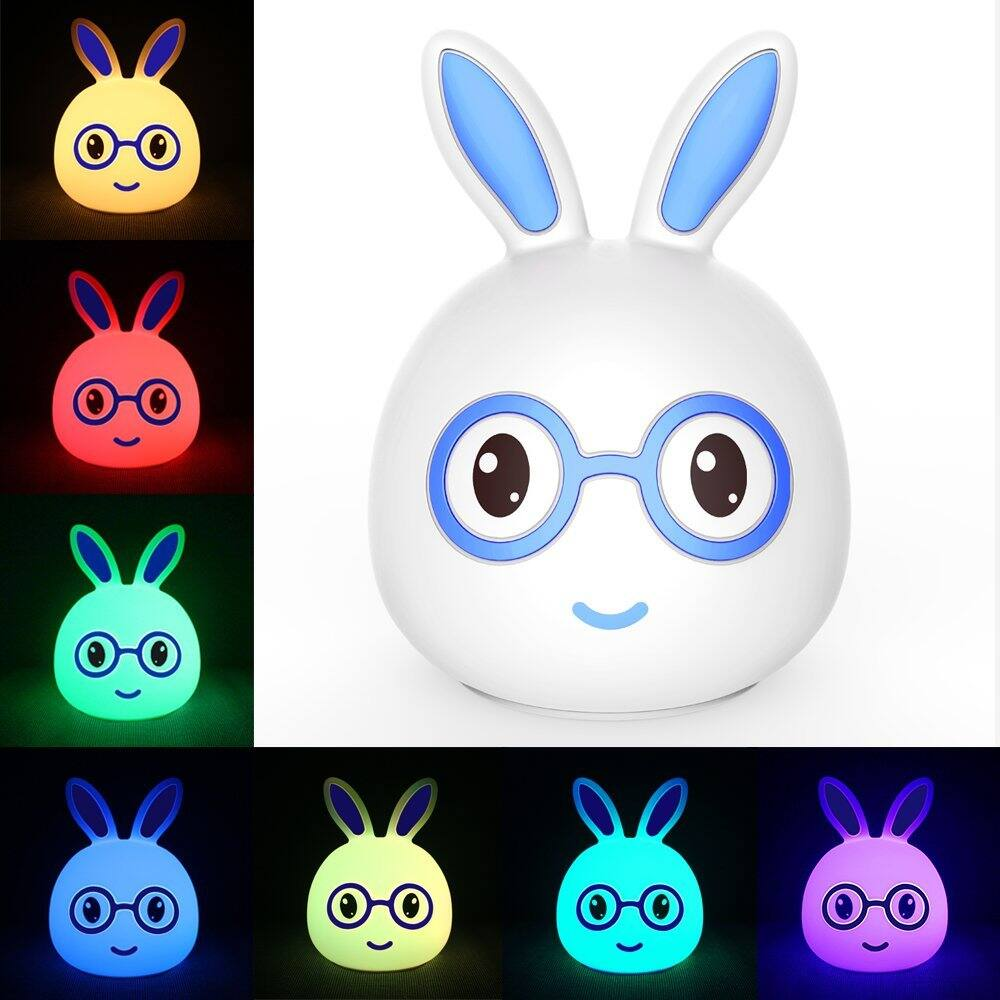 KssFire Portable 2 Models LED Children Night Light Rechargeable Baby Silicone Night Lamp Soft Nursery Lamp Sensitive Tap Control for Baby Bedroom (Blue)  -- $5.49AC