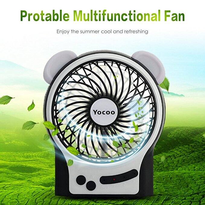 YoCoo Mini USB Fan 3 Modes Wind Speeds Rechargeable Portable Table Fan Electric Personal Fan with Cute Outer Ear LED Light Function - Battery Included - Black -- $6.99 AC