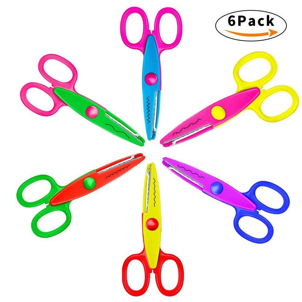 Niceshop Safe Paper Edging Scissors Colorful Decorative Paper Edge Scissors Scrapbooking Art Creative Scissors Wave Edge Cutters Great for Teachers Students (6 Pack) -- $5.49 AC