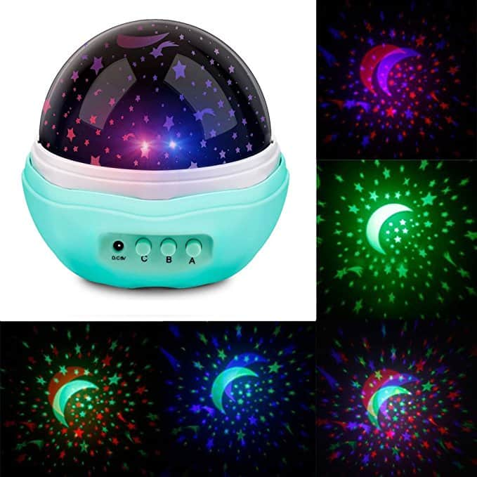 Number-One Multicolor Moon Star Projector Night Light Rotating Starry LED Projection Lamp Toys Children Bedroom Lamp, Decorative Light, Best for Kids Bedroom-- $5.59 AC