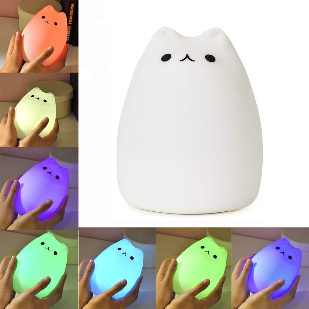 KssFire Portable Cute Kitty LED Children Night Light Silicone LED Multicolor Night Lamp,USB Rechargeable Silicone Soft Baby Nursery Lamp -- $9.59 AC + FREE Prime Shipping