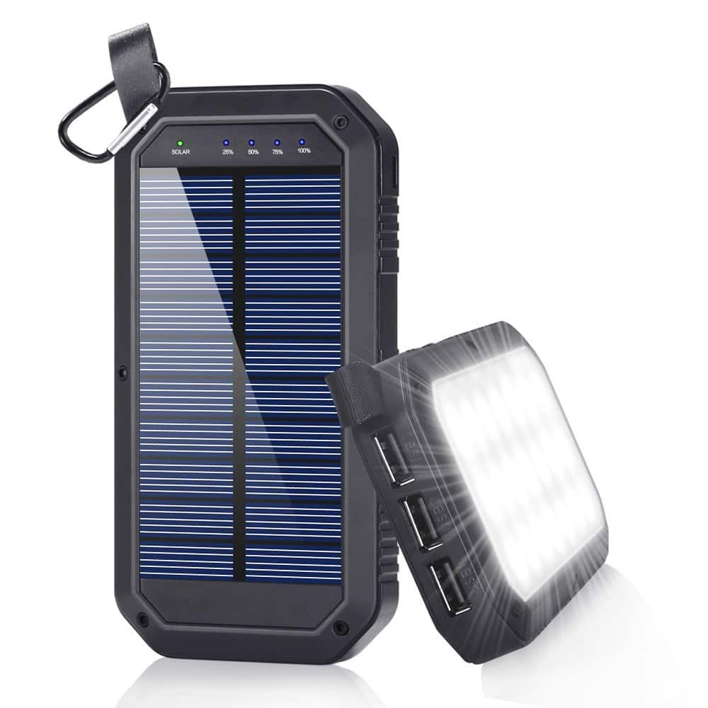 Solar Charger, Dostyle 8000mAh Portable Solar Power Bank External Backup Battery Pack 3 USB Ports Solar Phone charger with 21 LED light for iPhone, iPad, Samsung Galaxy -- $12.95AC