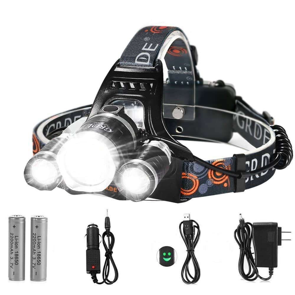 LED Headlamp, {5000 Lumens Max} 4 Modes Waterproof Head Flashlight Light with 2 Rechargeable Batteries, USB Cable, Wall Charger and Car Charger for Outdoor Sports -- $20.99 AC