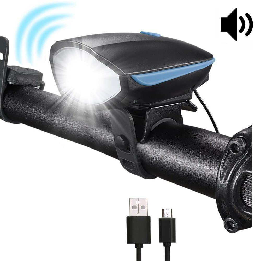 Onedayshop® Bike Horn Light, Waterproof Bicycle Headlight with Super Loud Bike Horn 120 DB 3 Lighting Modes, 5 Horn Modes USB Bicycle Light Horn For Night Riding -- $6.99AC