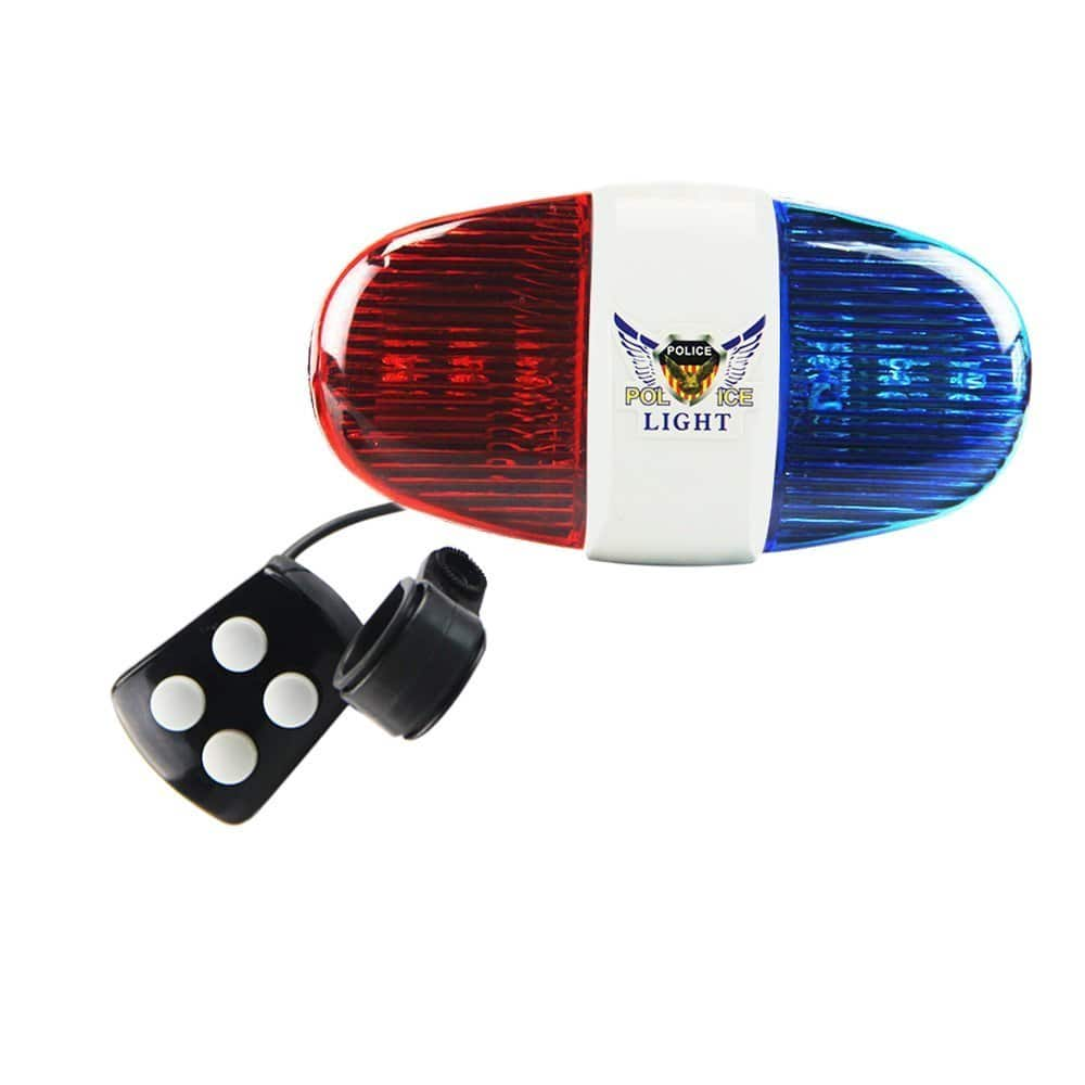 Onedayshop Super Loud Bike Bicycle Police Car 6 LED Light 4 Sounds Trumpet Cycling Horn Bell Siren -- $4.50 AC