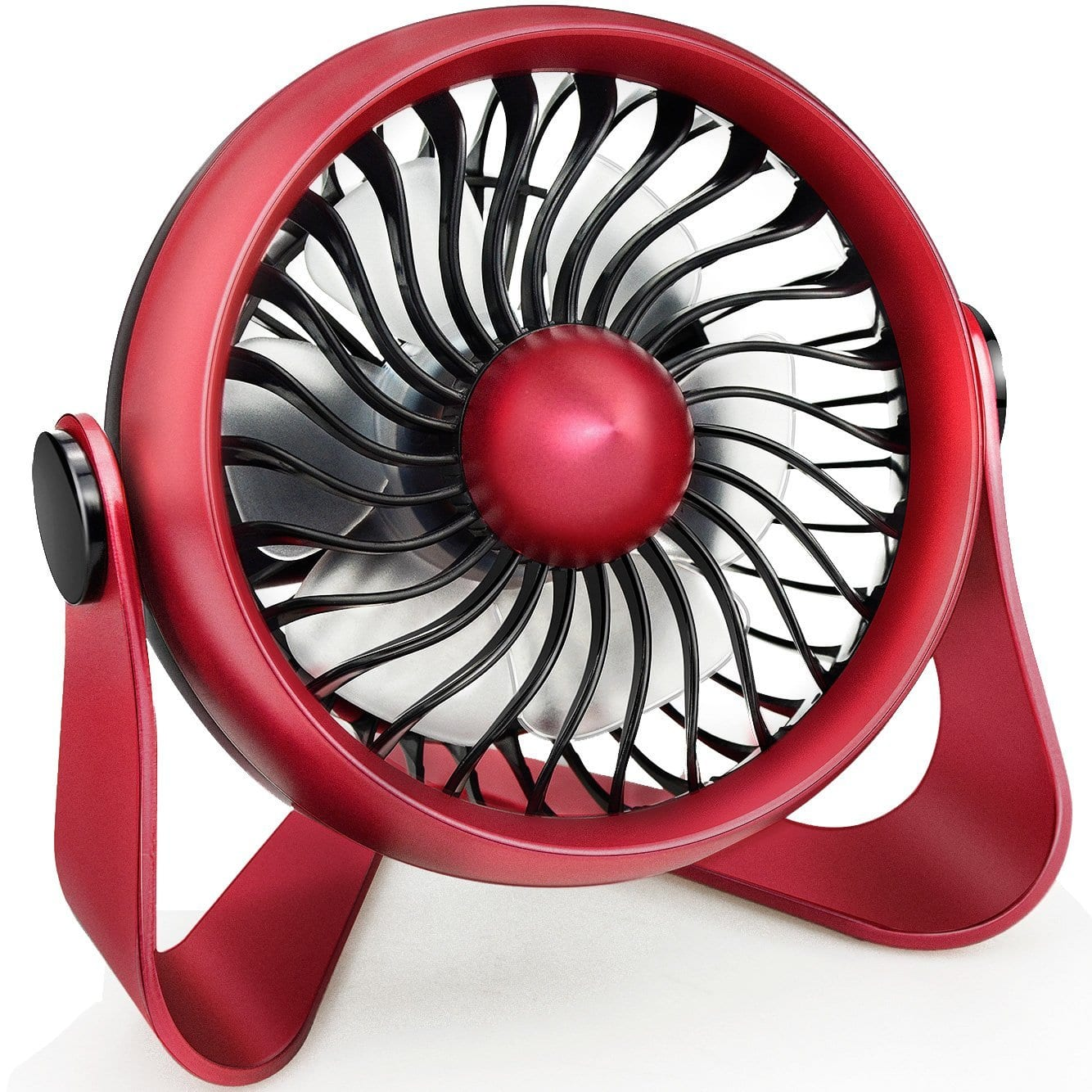 WIOR Aromatherapy Essential Oil Fan to Blow Fragrant Wind, Portable Mini Personal Fan with 4 Speeds Powered by USB or Rechargeable Battery for Office, Table, Travel (Red) -- $7.99