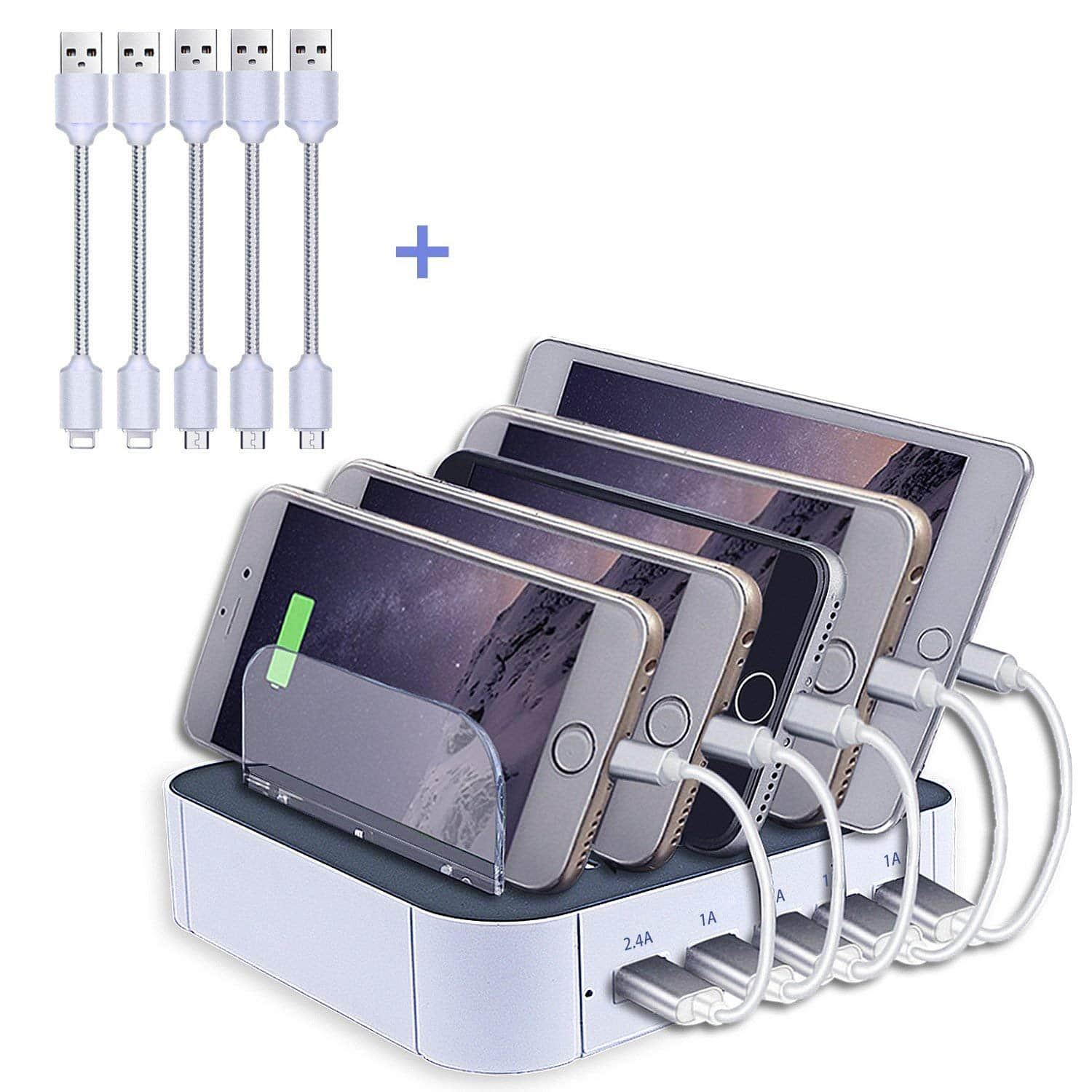 Charging Station, Topoint Multi Device USB Charging Docking Station with 3 Lightning Charging Cords and 2 Micro USB Charging Cords for iPhones/Smart Phones/Tablets -- $9.99 AC