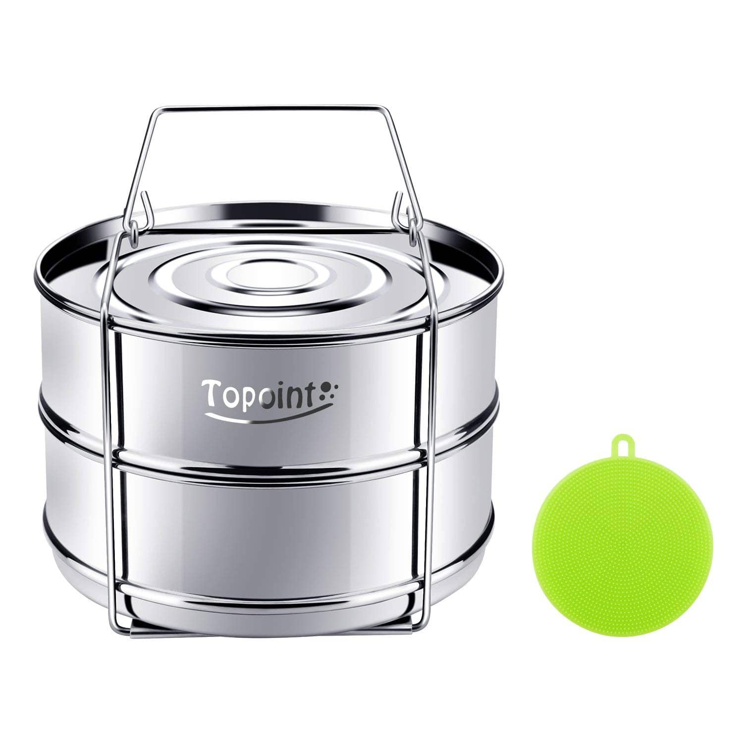 Stackable Pressure Cooker Insert Pan,Instant Pot Accessories for 6, 8 Qt Cookware Pans Made with Food Grade 304 Stainless Steel with Silicone Scrubber -- $9.99 AC