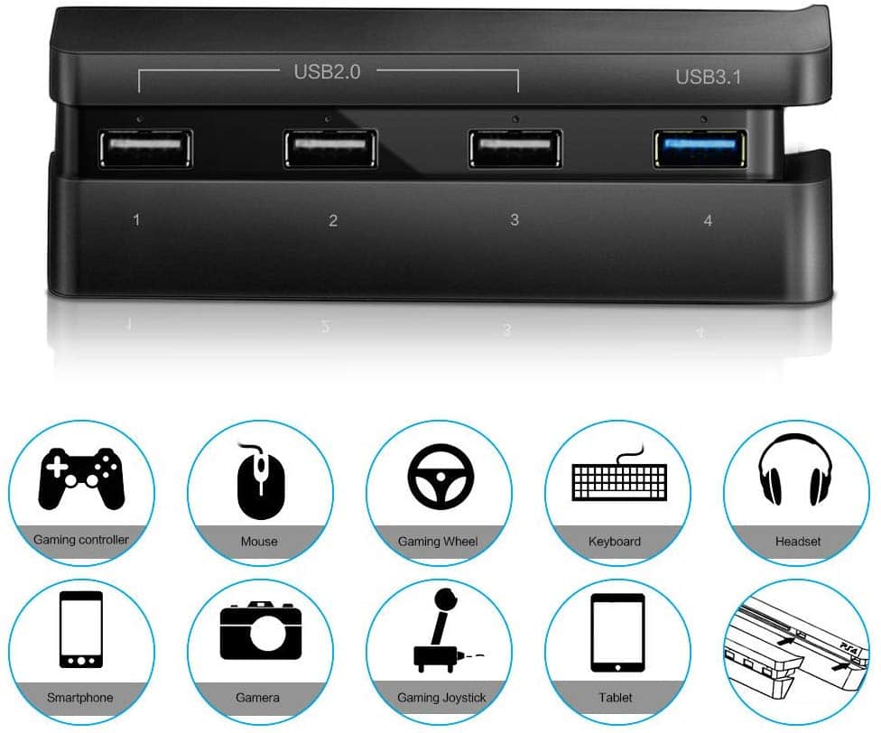 Ideashop PS4 Slim Hub, 4 USB Port Hub for PS4 Slim, USB 3.1 USB 2.0 Super Transfer Speed Charger Controller Splitter Expansion Adapter With LED Light for PS4 Slim -- $3.45 AC