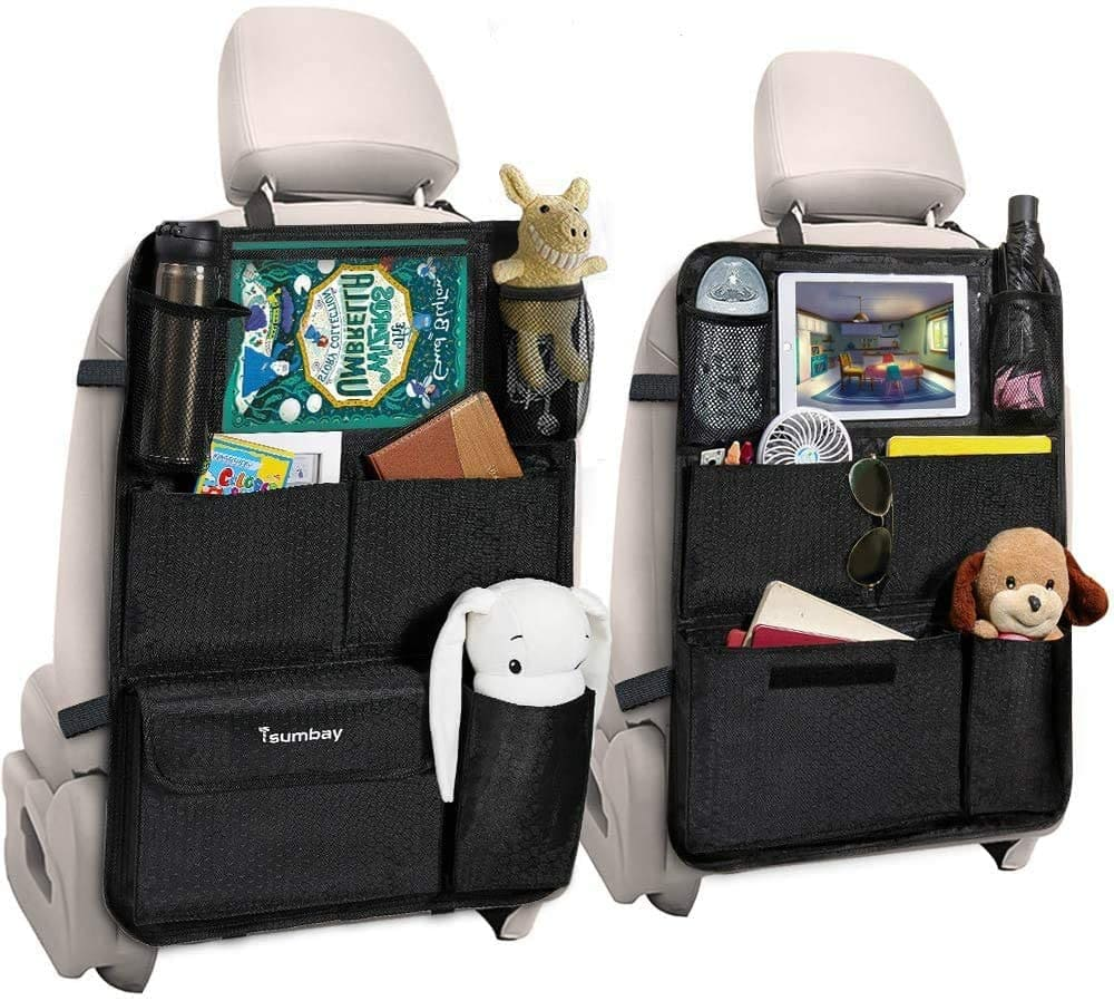 2 Pack Tsumbay Car Backseat Organizer with Touch Screen Tablet Holder & Multi Pockets $16.75