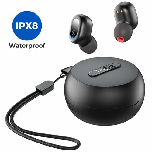 Tribit FlyBuds 1 Wireless Earbuds - 5.0 Bluetooth Earbuds IPX8 Waterproof  w/mic $23.39