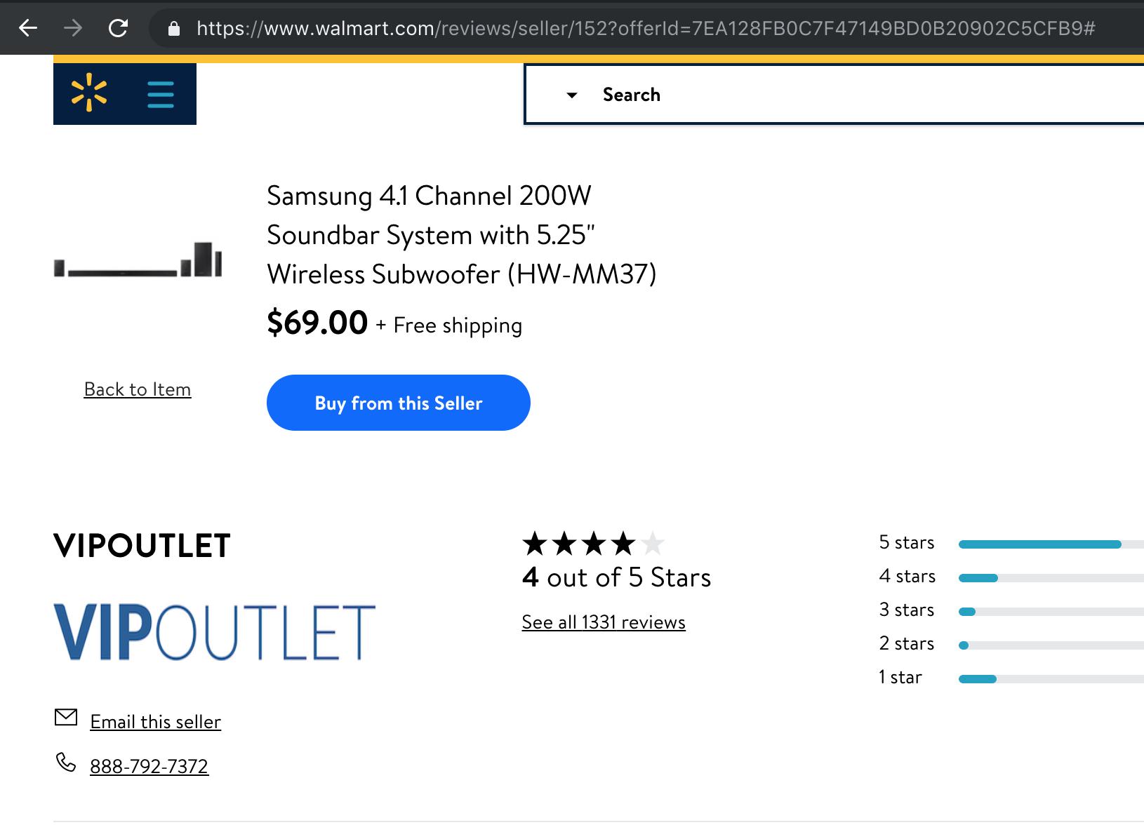 "Samsung 4.1 Channel 200W Soundbar System with 5.25"" Wireless Subwoofer (HW-MM37) - Refurbished $69"