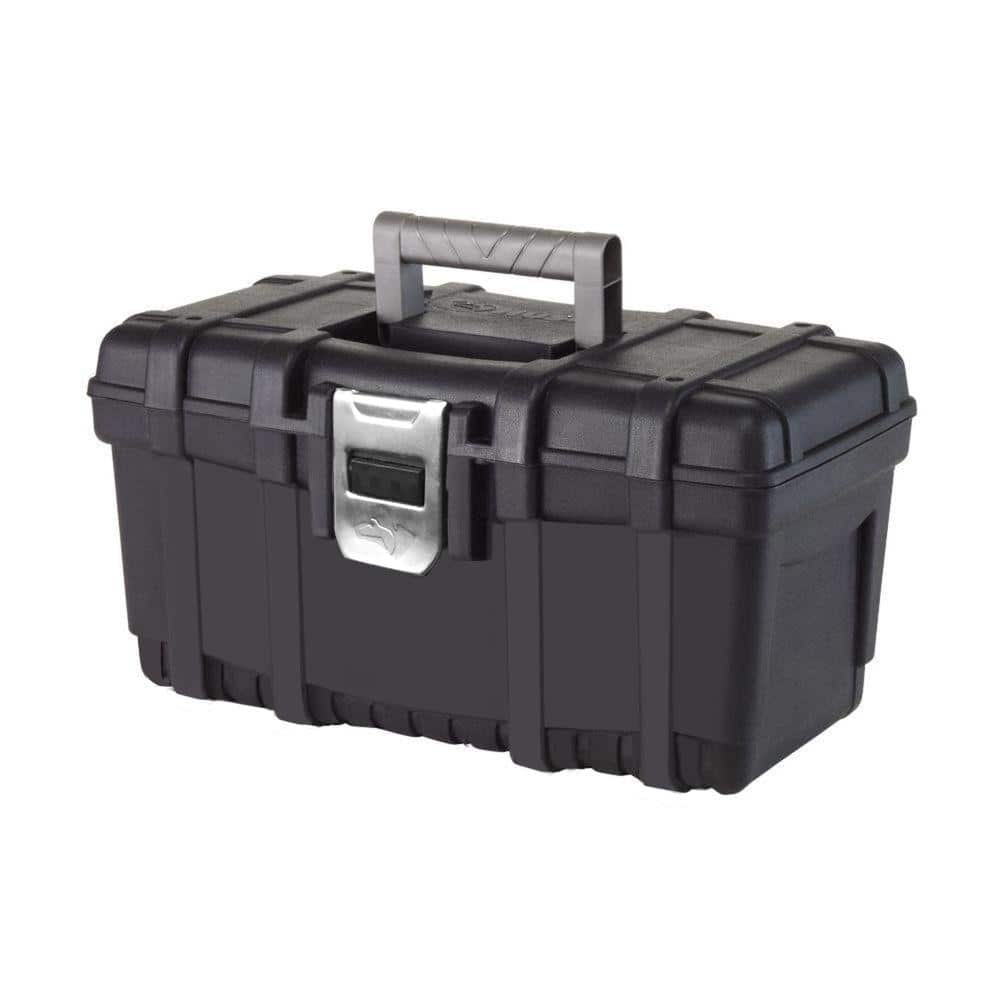 Husky 16 in. Plastic Tool Box with metal latch (1.6mm) in Black, Free pickup at store $4.88