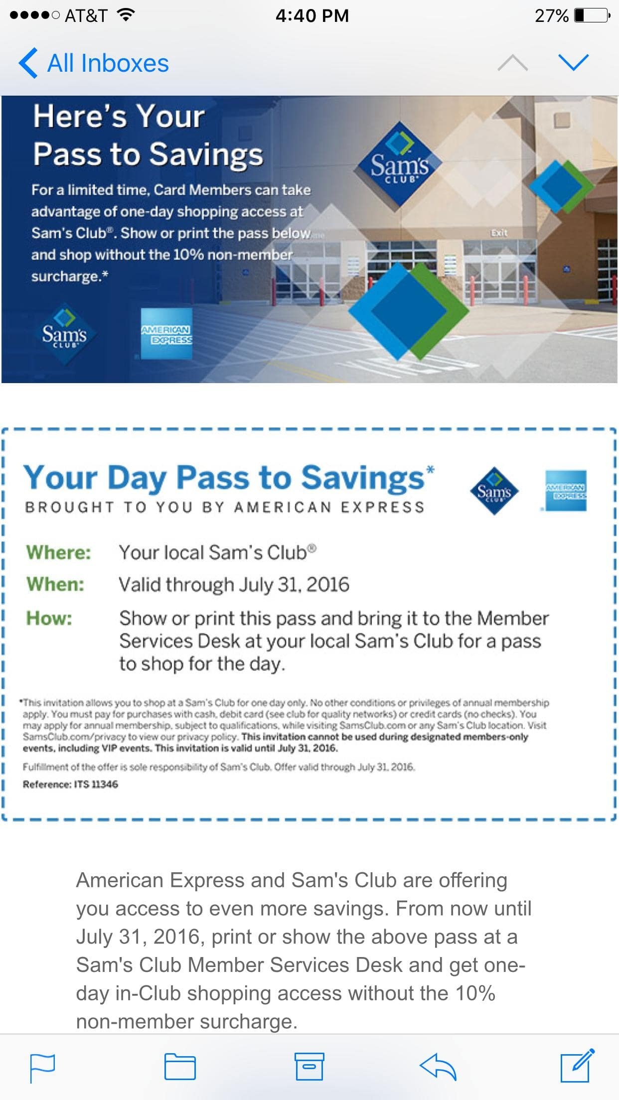 Amex one day pass to sam's club for non members