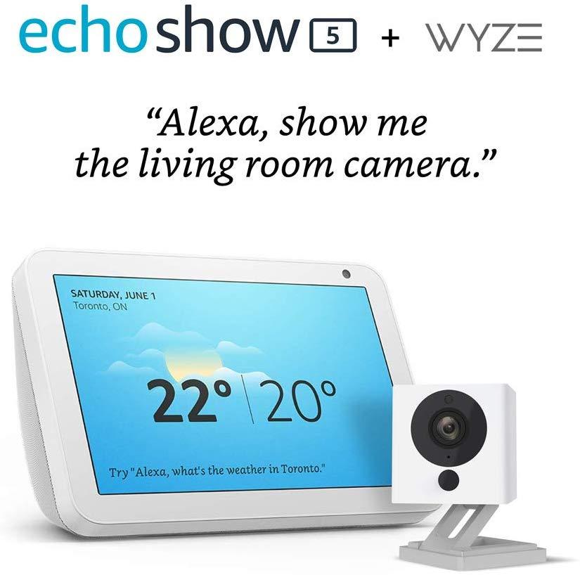 Echo Show 5 (Sandstone) with Wyze 1080p indoor Smart Home Camera $69.99