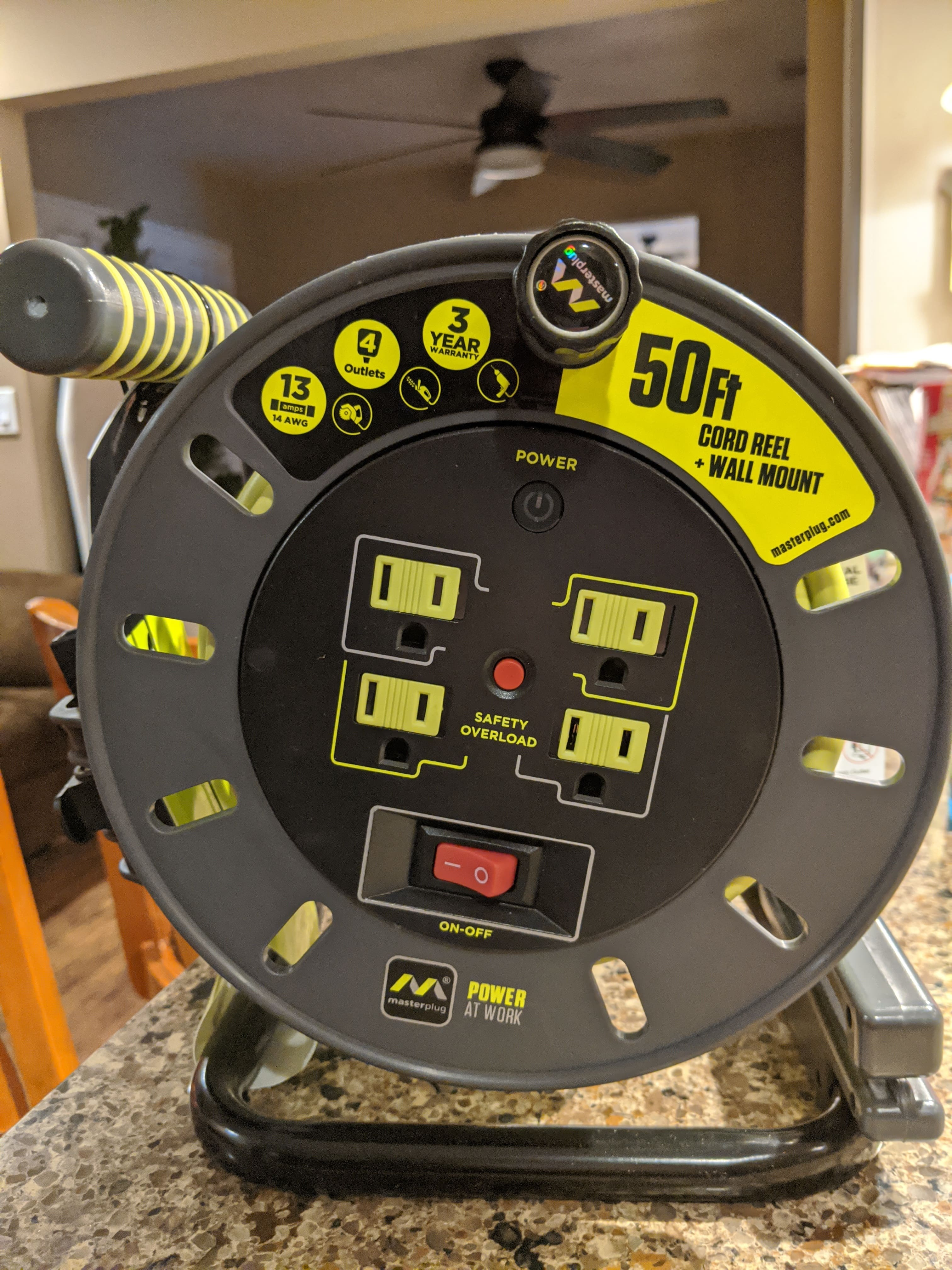Sam's club B&M only!!! YMMV Clearance price $19.91  Masterplug Extension Cord Reel (50 ft.) with Wall Mount