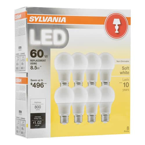 BJ's: Sylvania LED Light Bulbs, 8.5W (60W Equivalent), soft white, 8-count $9.99