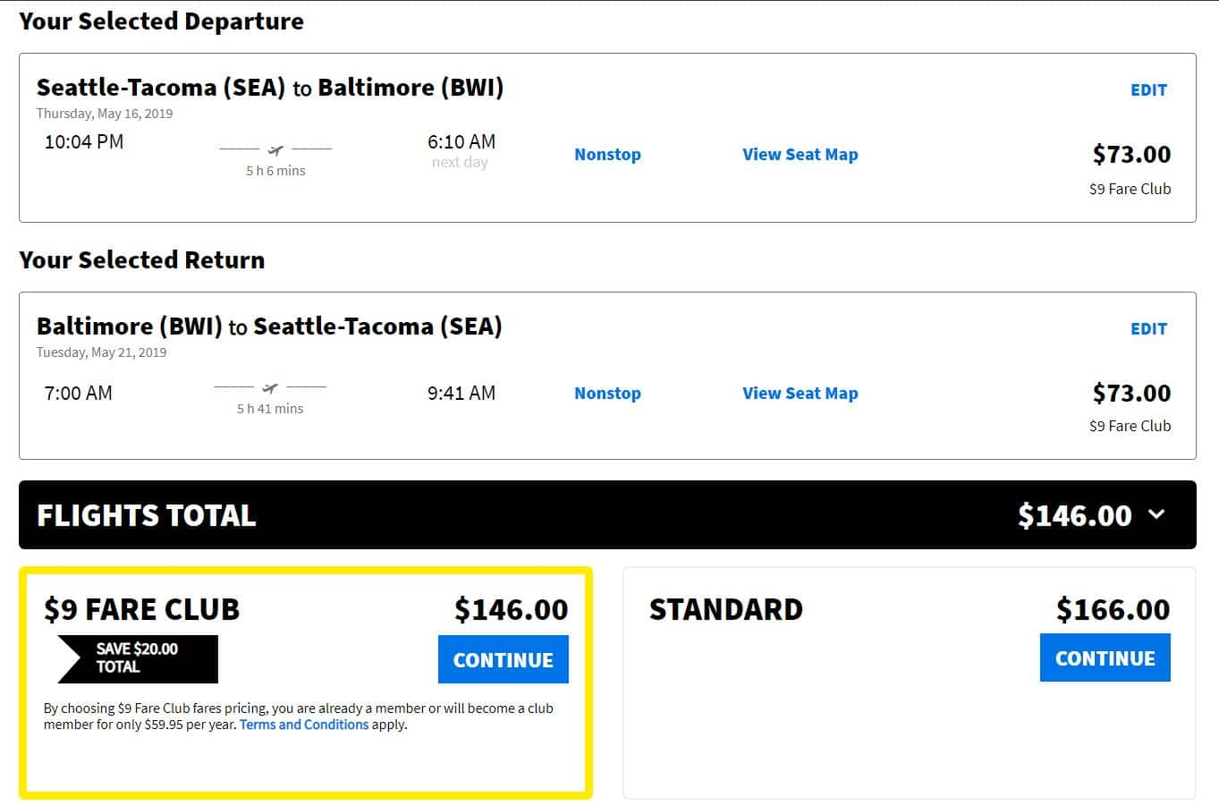 Seattle to Baltimore $127 RT non-stop flight in Spirit Airlines Apr-May 2019