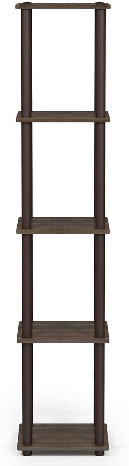 FURINNO Turn-N-Tube 5-Tier Corner Square Rack Display Shelf, Round, Walnut/Brown $16.7