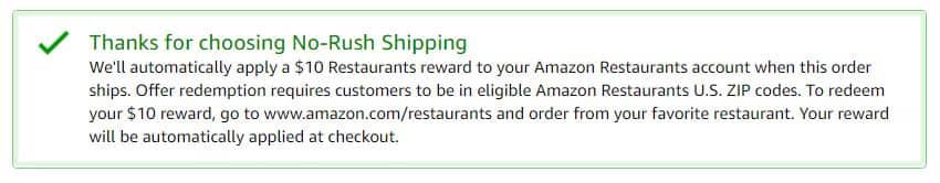Amazon Prime 10 Amazon Restaurants Reward With No Rush Shipping