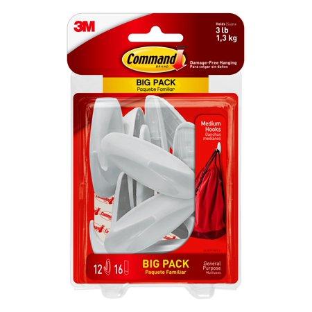 Walmart 3M White Command Designer Hooks, Medium 3LB, 12 Hooks, 16 Strips, free pickup $5.77