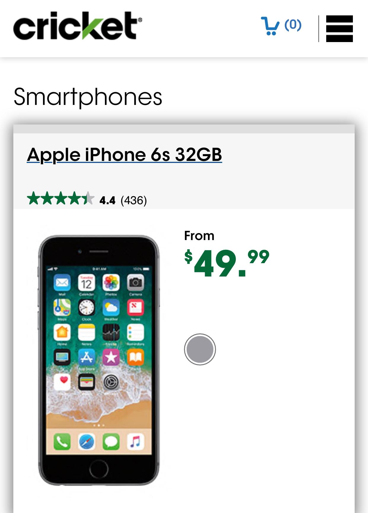 Apple 6s 32 GB $49.99 Cricket Wireless