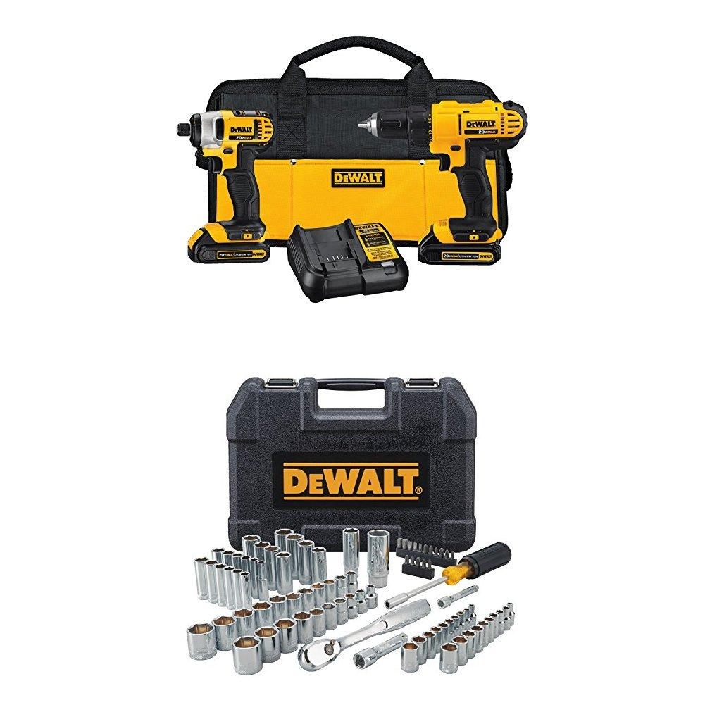 DEWALT 20v Lithium Drill Driver/Impact Combo Kit + 84pc Tool Set $187.9