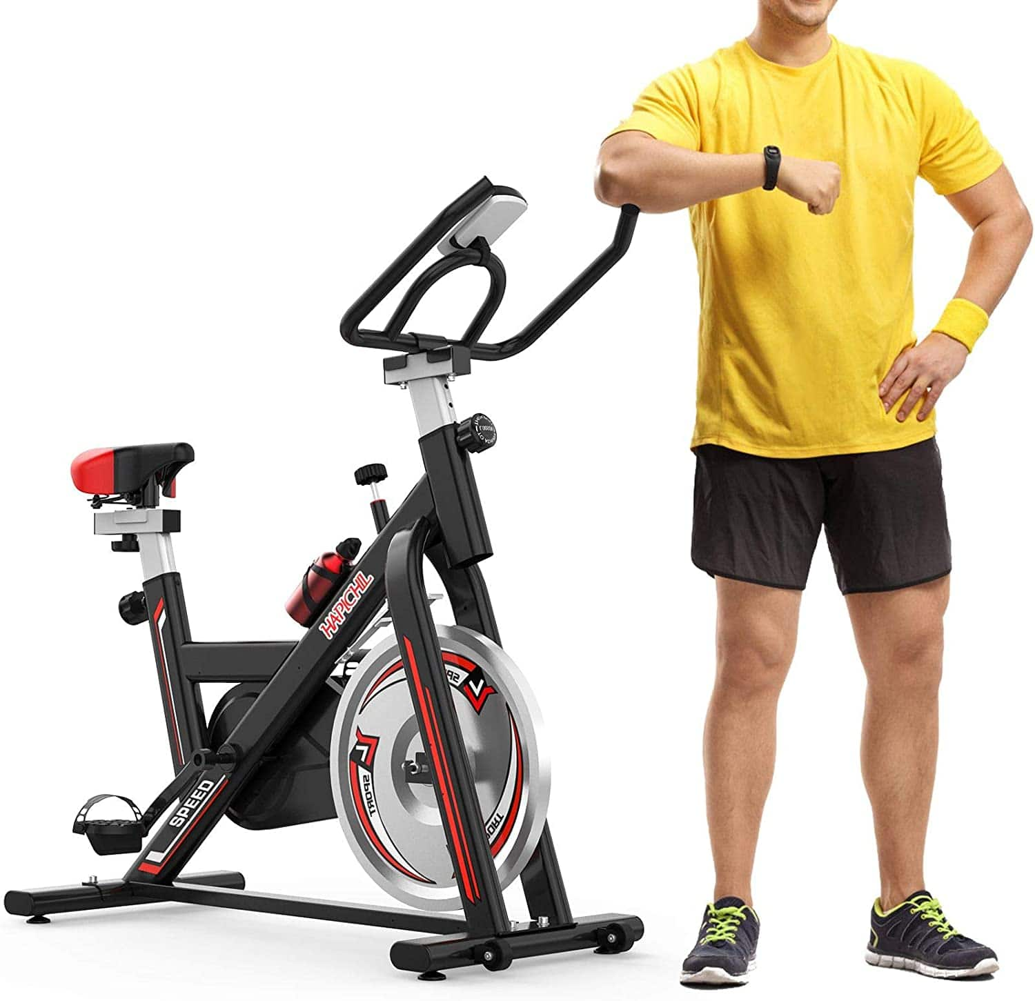 HAPICHIL Exercise Stationary Bike, Adjustable Seat + LCD Display $149.97